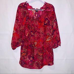 Chaps women's shear three-quarter sleeve blouse